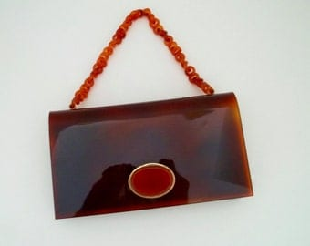 Vintage Tortoise Amber Clutch Made in Spain