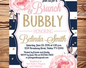 Bridal shower invitation brunch pink, Brunch and Bubbly bridal shower invite, gold, watercolor pink flowers, peonies, navy stripes, 5373