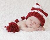 Newborn Santa Hat, Newborn Elf Hat, Christmas Photo Prop, Newborn Pom Pom Hat, Long Tail Hat, Stocking Cap, Newborn Photo Prop, Striped Hat