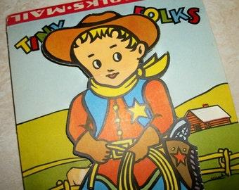 Vintage Tiny Folks Mail kit, children's stationery folder,  Hassenfeld Brothers