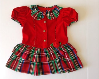 80's Plaid Petal Collar Drop Waist Holiday Party Dress (3t)