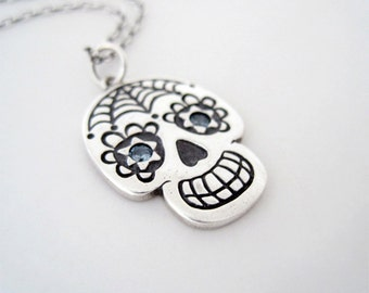 Fine Silver Sugar Skull Necklace, Web Pattern Day of the Dead Skull, Dia de los Muertos Necklace, One of a Kind Skull Necklace