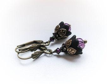 Black Tulip Fairy Flowers with Victorian Brass Filigree Flower Girl Goth Wedding
