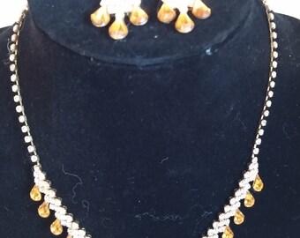 Topaz Rhinestone Necklace and Earring Set
