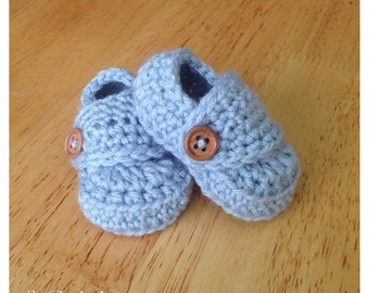 Silver Blue Baby Boy Loafer Booties shoes newborn 0-3 3-6 6-9 9-12 mos baby shower gift photography prop light wooden buttons church