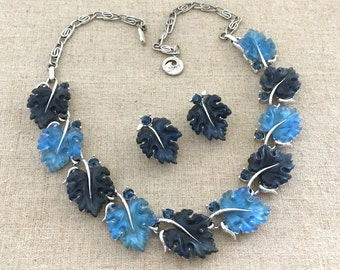 LISNER Oak Leaves Necklace Set, Vintage Lisner Blue Leaves Necklace Earrings Set, Demi-Parure, Maple Leaves Jewelry Necklace, Oak Leaf Set