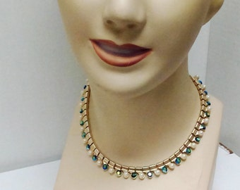 Coro Necklace Choker Faux Pearls and Aurora Borealis Stones Signed on J Hook