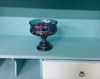 Blue Vase Thumbprint Old Vase, Iridiscent Colors