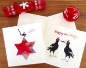 Christmas card, Australian birds, blue wren, australian magpie, greetings card, handmade