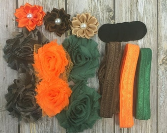 Hunting Buddy Mini Kit - Headband Starter Kit - Coordinating Elastic and Flowers to create hairbands