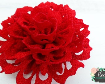 Red Eyelet Flower Girls Hair Clip - Special Occasion - Wedding - Christmas Holiday - July 4th - Fourth of July - Valentine's Day