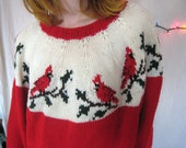 Hand Knit Cardinal Sweater/Red White/Bird/Slouchy Soft/Oversized/Fair Isle/Comfy Cozy