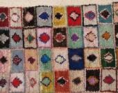 FREE SHIPPING WORLDWIDE L22232 vintage boucherouite rug, moroccan rugs , rag rug, berber tribal art, morocco carpets, wall art