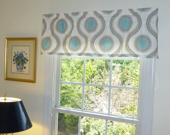 Window Valance & Window Treatments - Susette Fabric Print - 2 Color Options