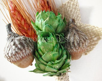 Acorn Woodland Hops Boutonniere Burlap Leaves Orange Wheat