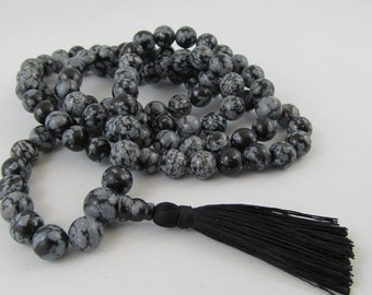 Mala - 8mm snowflake obsidian 108 beads buddhist mala - stone mala - prayer necklace - meditation