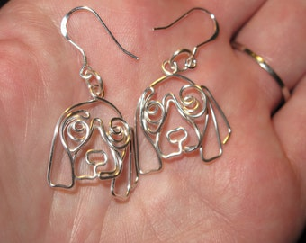 Wire Wrapped Basset Hound Or Other Dog Earrings MADE to ORDER