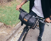 Seven Hills, handle bar and saddle bag, black waxed canvas