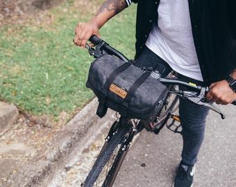 Seven Hills, handle bar and saddle bag, black waxed canvas