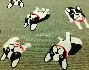Bulldog with necklace, beige gray, 1/2 yard, pure cotton fabric