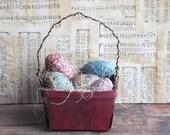 Primitive Red Easter Basket with Egg Bowl Filler Ornies, Spring Decor