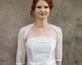 White lace shrug, antique white bridal cover up, lace Bridesmaids bolero, any size custom bolero, lace bolero, plus size bridesmaids bolero