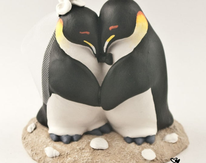 Penguins in Love Wedding Cake Topper
