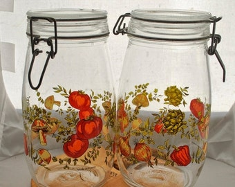 ON SALE Glass Canisters with Painted Vegetable decoration, Set of Two, Large Jars, Kitchen storage and decor