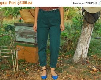 SALE Emerald GreenHigh Waisted skinny Pants VINTAGE 80s skinny pants strechy womens pants
