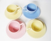 Pastel Demitasse Set Native California Yellow, Pink and Blue, Spring Easter Cottage Chic Children's Tea Set, Vernon Kilns and Metlox Pottery