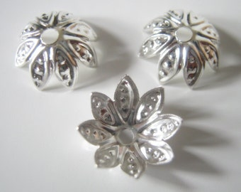 100 Antique Silver  Flower Bead Caps, 10mm, Jewelry Making Supplies