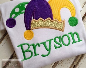 Mardi Gras Shirt or Bodysuit for Boys - Prince of Mardi Gras -- purple, green and gold -- jester hat
