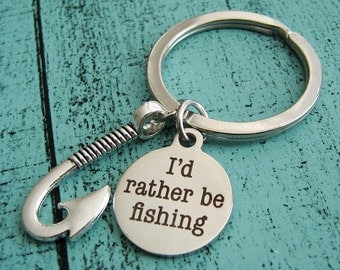 Fathers Day gift keychain, love fishing gift for dad, men husband gift, fisherman, boyfriend gift, I'd rather be fishing, anniversary gift