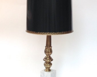 Vintage Marble and Brass Lamp with Restored Original Shade