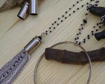 Jewelry Set - Shell Casing Jewelry - Earrings - Necklace - Bracelet - Black Crystal - Sterling Silver