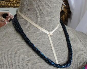 Vintage Necklace in dark blue beads