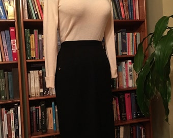 WIGGLE SKIRT--Vintage 1950s Inky Black and Super Soft Tectured Wool Pencil Skirt-S, M