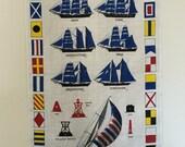 Vintage Towel Lahaina Boats Nautical Linen