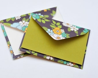 SALE-Flower Mini Cards // Set of 4 // Blank Cards // Gift Card Envelopes // Business Card  Envelope // Love Note // Advice Cards