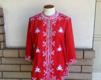 70s Cherry Red Embroidered Asian Tunic Top Tea Timer by Chuchi Size M-L