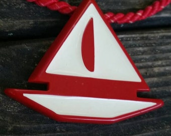 80s Red Rope Nautical Sailboat Choker