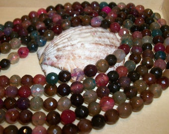 Multicolor earth tones faceted Agate gemstone bead - 6 mm beads- full strand-262