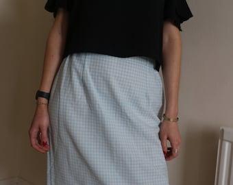 SALE Pale aqua gingham pencil skirt on trend unworn vintage 60s waist 28 - 30