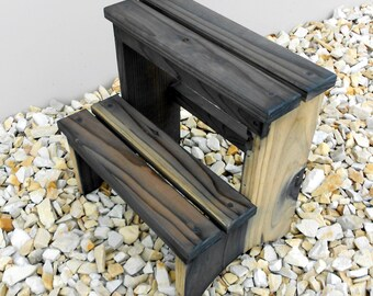 14 Inch Tall Handcrafted Redwood Step Stool  Rustic Finished