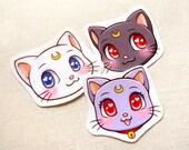 Sailor Moon Cats Luna Artemis Diana Glossy Water-resistant Stickers - Kawaii Anime Neko Large Decal Sticker, Paper Bookmarks, Laptop Sticker