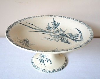 GIEN Antique french Ironstone footed dessert compote plate Blue transferware. French transferware. Antique pedestal plate Flowers Cake Stand