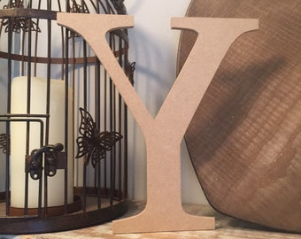 "wooden letters, wall letter, not free-standing, unpainted Roman font, letter Y,  8"" - READY TO SHIP"