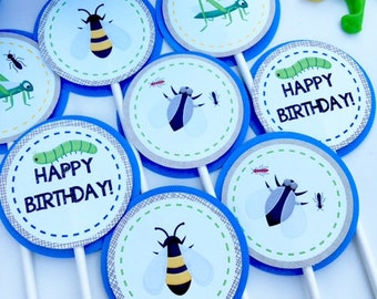 Bug, Insect, Backyard Birthday Cupcake Toppers