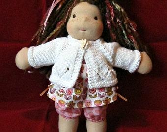 Handknit Waldorf Doll Cardigan~ 13-14 Inch