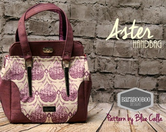 Aster Shoulder Bag in  Retired Tula Pink Parisville Sea of Tears Ships, purple with Cork Leather Tote, Blue Calla, purse, cross body